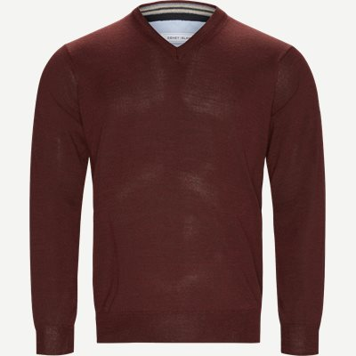 Smaralda V-Neck Striktrøje Regular | Smaralda V-Neck Striktrøje | Bordeaux